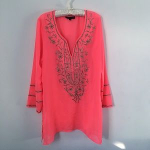 Club Z Collection | Embellished Pink Swim Cover-Up